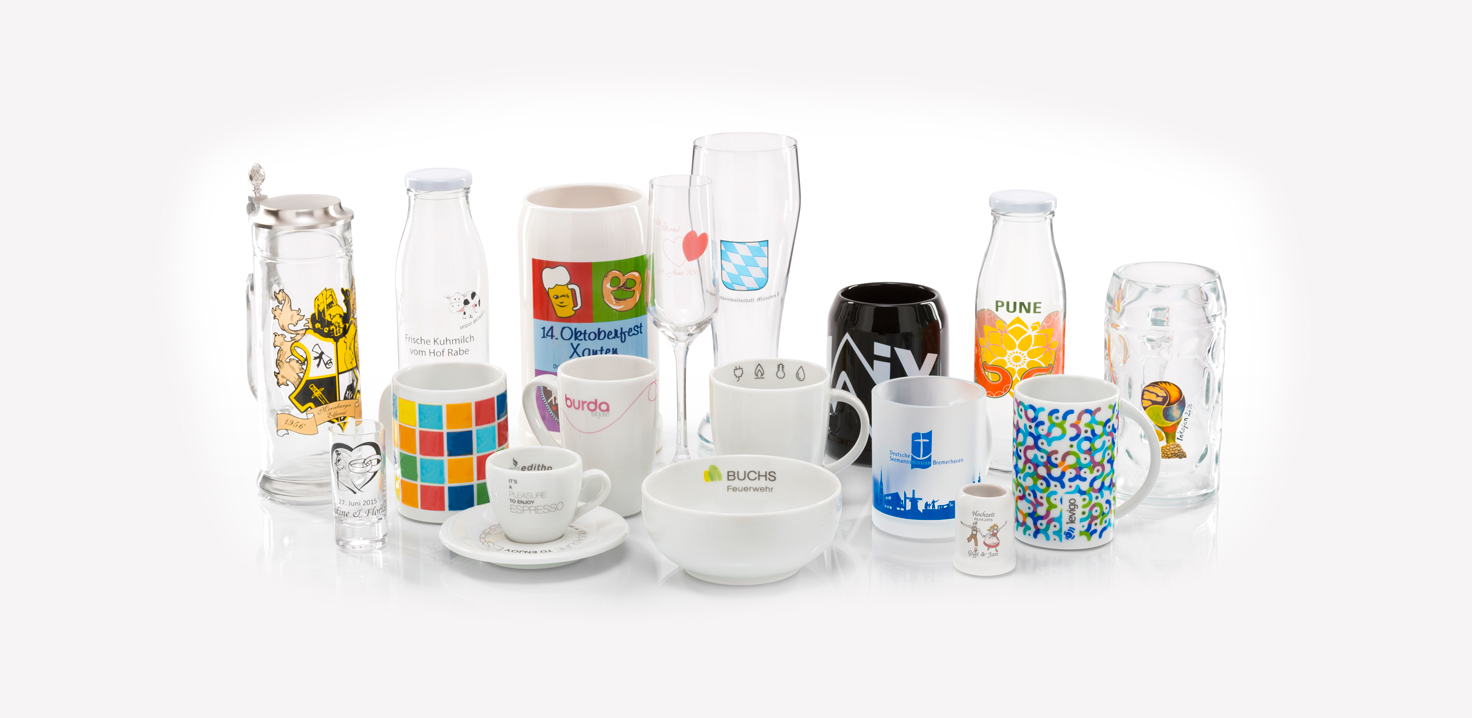 Porzellan & Werbung Granvogl GmbH - Foto der Produktpalette mit Referenzen